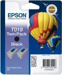 Epson inktcartridge T019 zwart / dubbelpak 2x24ml
