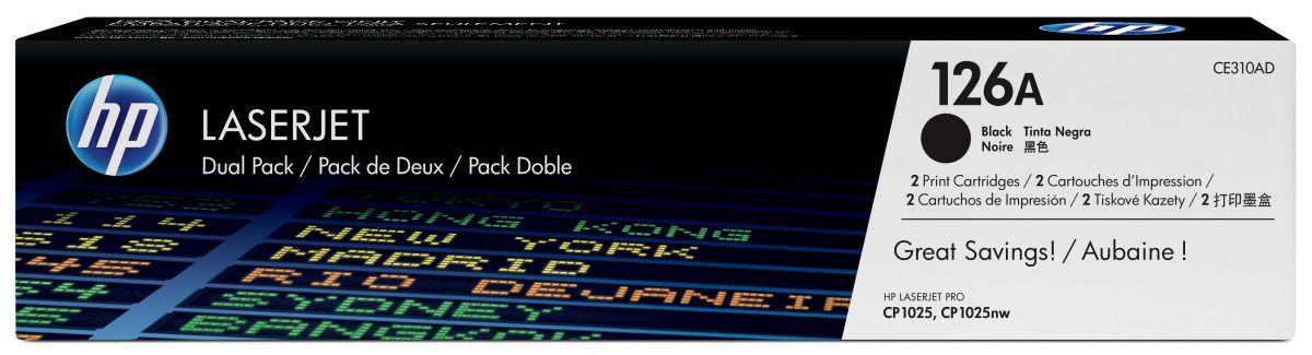 hp 126a zwarte toner 2pack ce310ad 2 x 1200 afdrukken