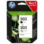 HP 303 2-pack (zwarte + drie kleuren cartridge)