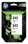 HP 343 drie-kleuren inktcartridge dubbelpak / 2 x 330 afdrukken