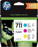 HP 711 inktcartridge 3-pack 29ml cyaan / magenta / geel