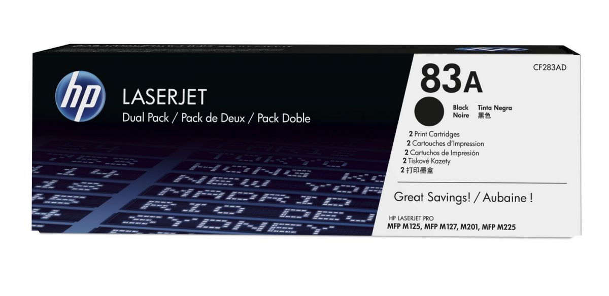 hp 83a zwarte toner 2pack cf283ad 2 x 1500 afdrukken