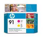 HP 91 magenta en geel printkop